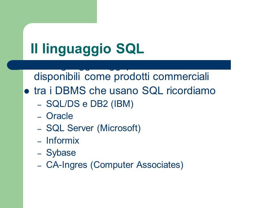 Il linguaggio SQL è il linguaggio oggi più usato nei DBMS disponibili come prodotti commerciali. tra i DBMS che usano SQL ricordiamo.