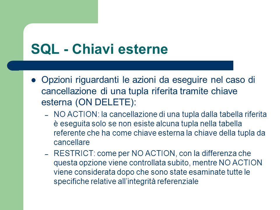 SQL - Chiavi esterne Opzioni riguardanti le azioni da eseguire nel caso di cancellazione di una tupla riferita tramite chiave esterna (ON DELETE):