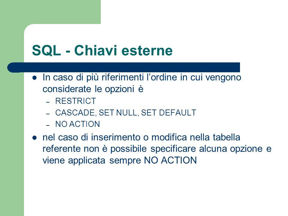 SQL - Chiavi esterne In caso di più riferimenti l'ordine in cui vengono considerate le opzioni è. RESTRICT.