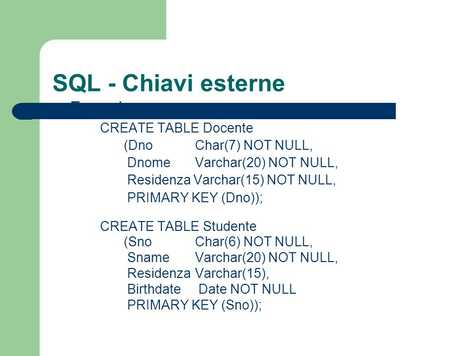 SQL - Chiavi esterne Esempio CREATE TABLE Docente