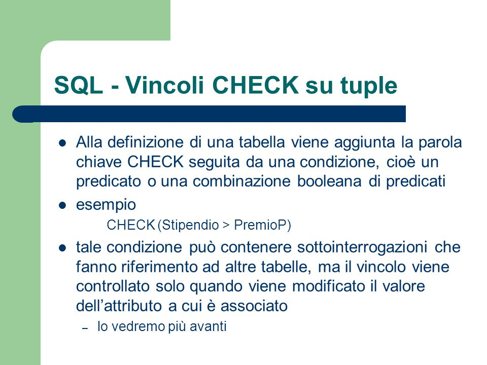 SQL - Vincoli CHECK su tuple