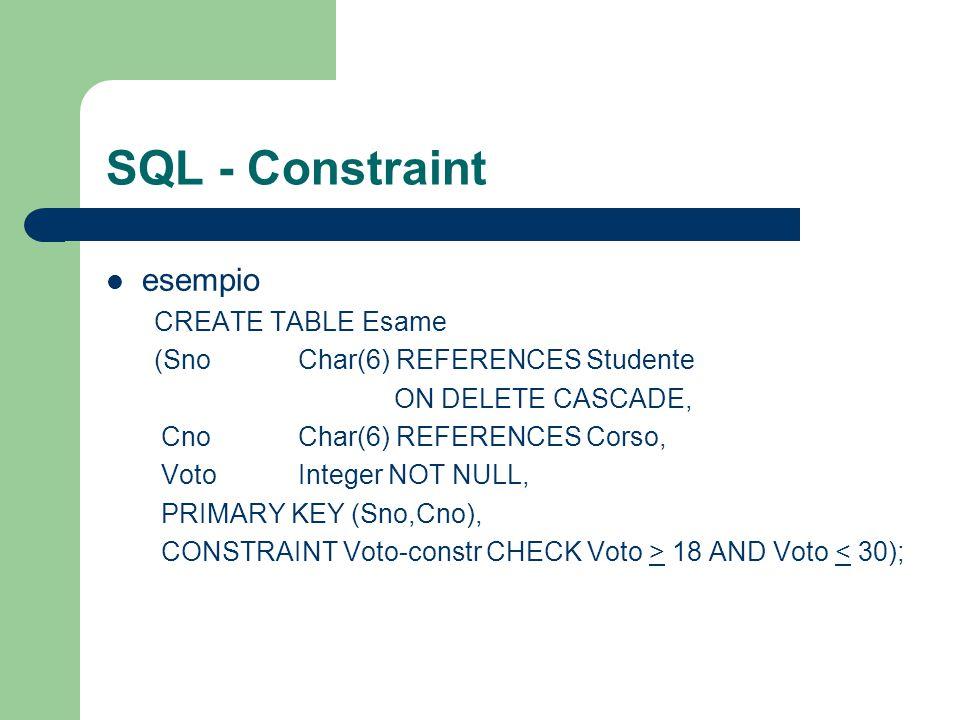 SQL - Constraint esempio CREATE TABLE Esame