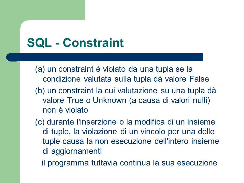 SQL - Constraint valutazione constraints: