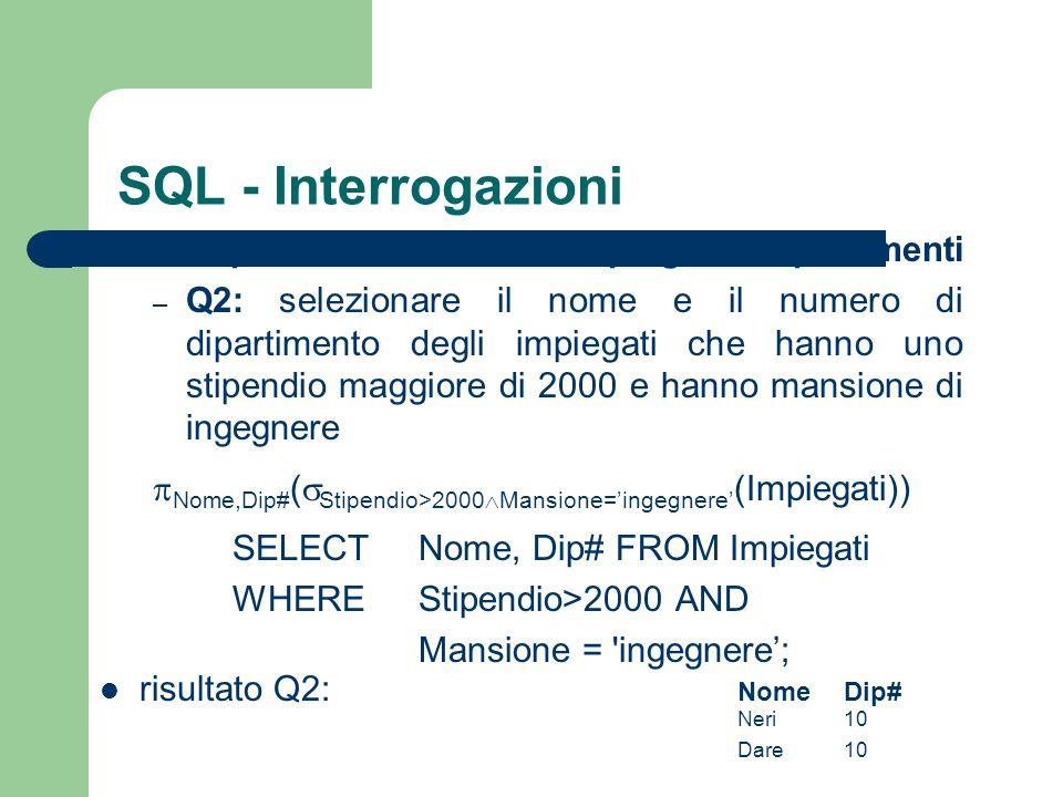 SQL - Interrogazioni esempi dalla base di dati impiegati e dipartimenti.