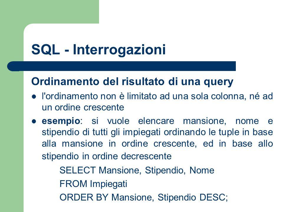 SQL - Interrogazioni Ordinamento del risultato di una query