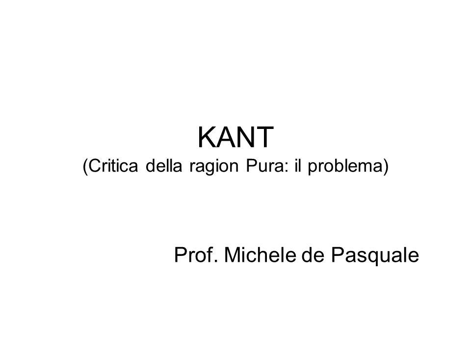 KANT (Critica della ragion Pura: il problema)