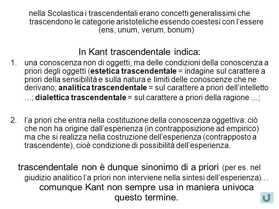 In Kant trascendentale indica: