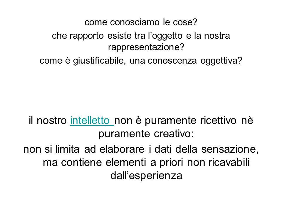 il nostro intelletto non è puramente ricettivo nè puramente creativo: