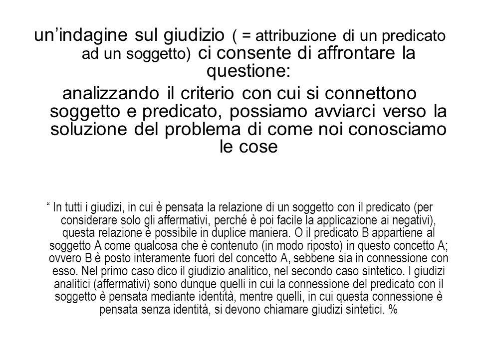 un'indagine sul giudizio ( = attribuzione di un predicato ad un soggetto) ci consente di affrontare la questione:
