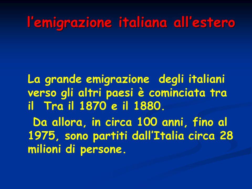 l'emigrazione italiana all'estero