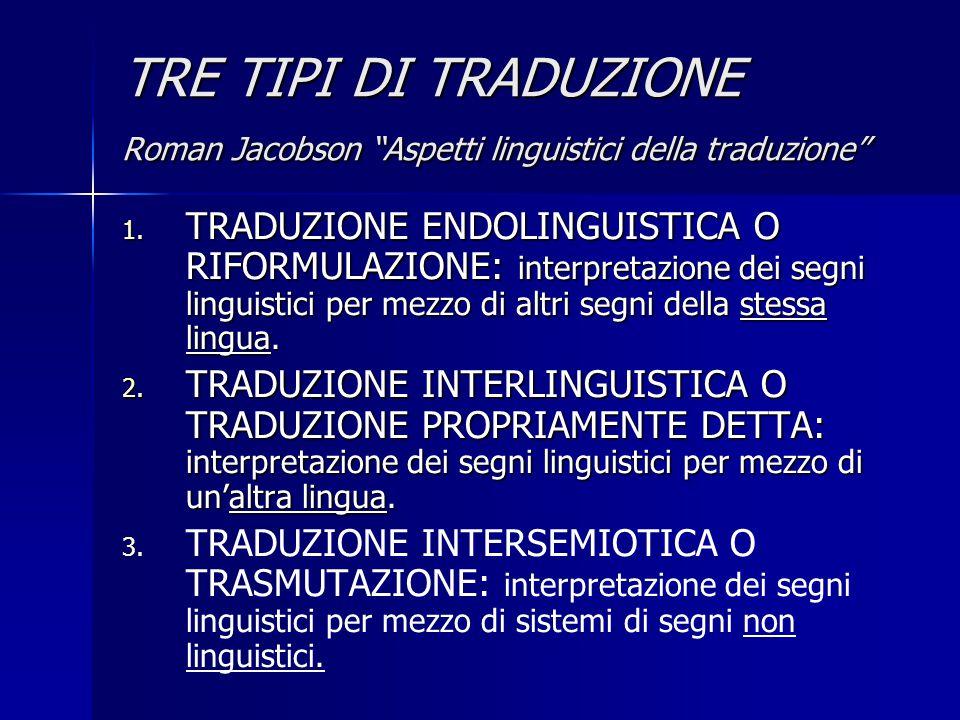 TRE TIPI DI TRADUZIONE Roman Jacobson Aspetti linguistici della traduzione