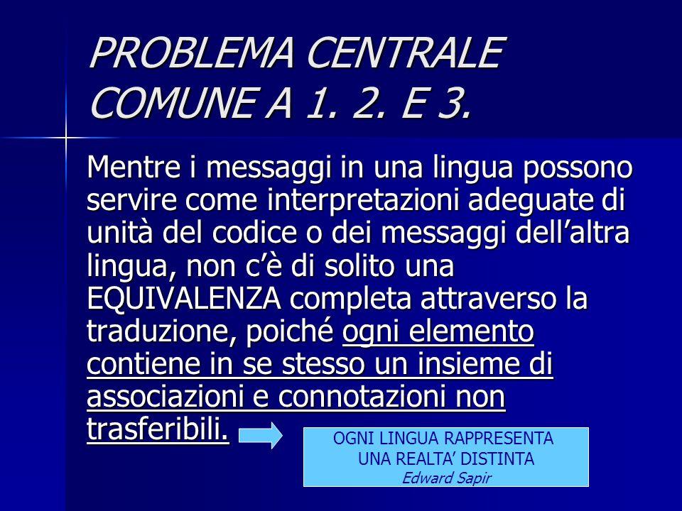 PROBLEMA CENTRALE COMUNE A 1. 2. E 3.