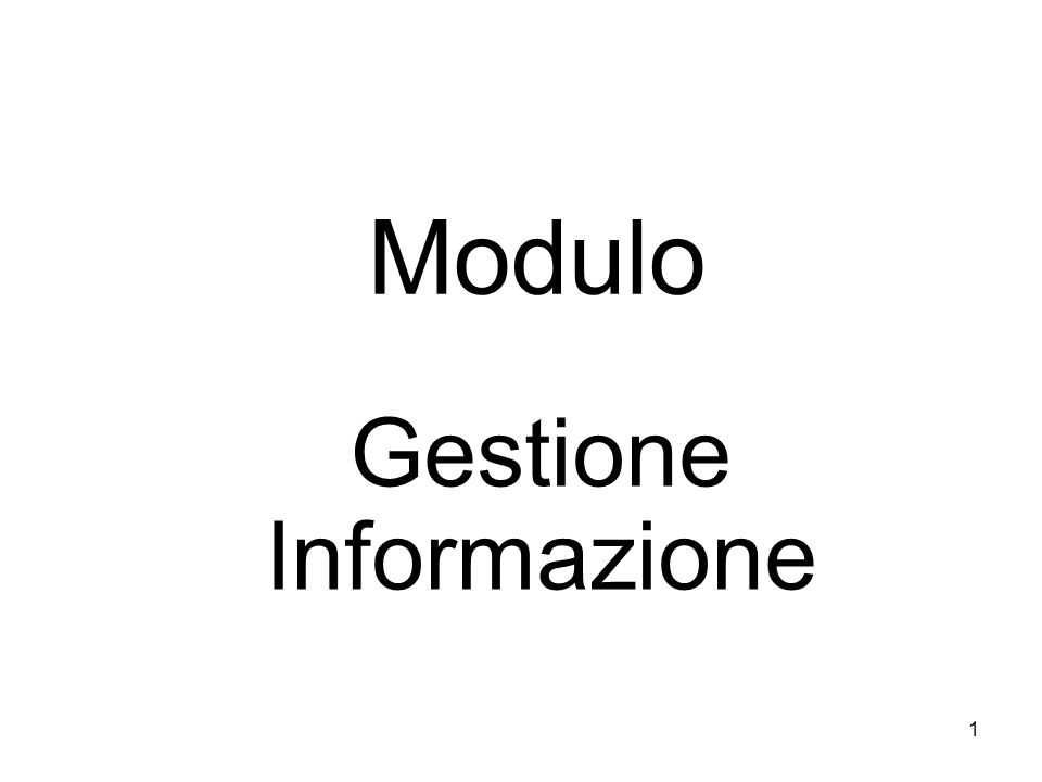 Gestione Informazione