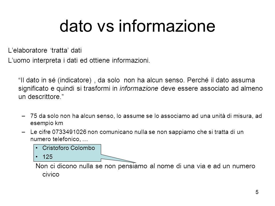 dato vs informazione L'elaboratore 'tratta' dati