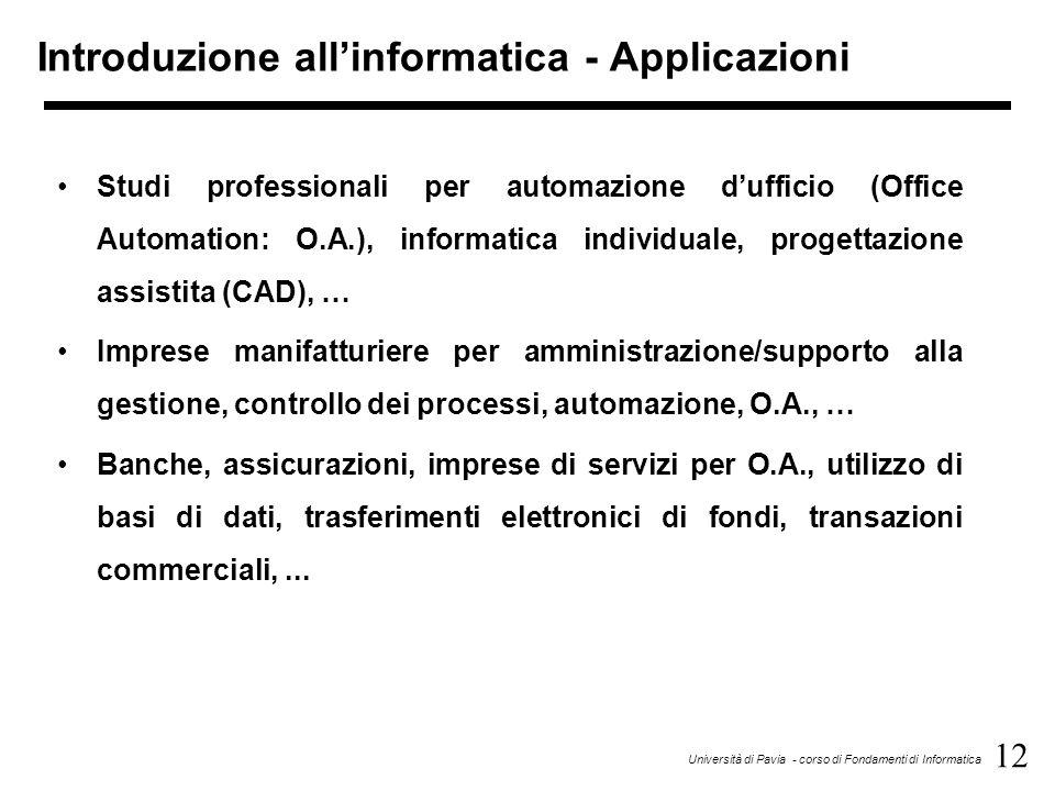 Introduzione all'informatica - Applicazioni