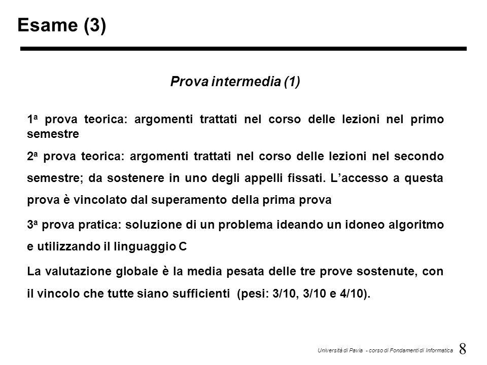 Esame (3) Prova intermedia (1)