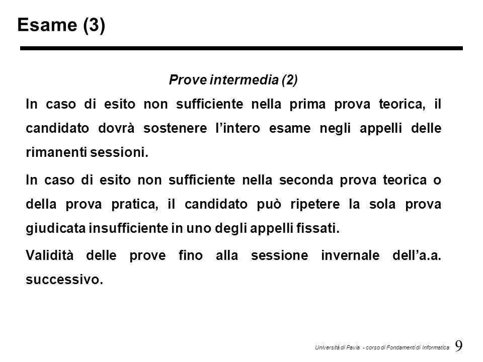 Esame (3) Prove intermedia (2)