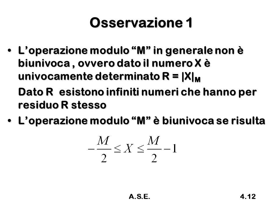 Osservazione 1 L'operazione modulo M in generale non è biunivoca , ovvero dato il numero X è univocamente determinato R = |X|M.