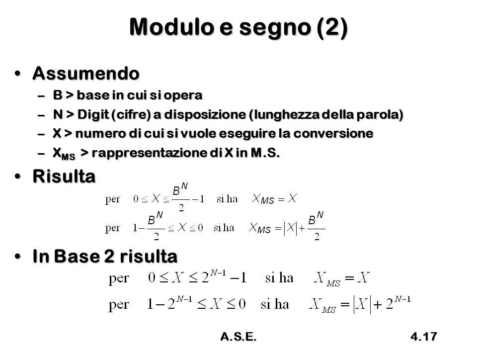 Modulo e segno (2) Assumendo Risulta In Base 2 risulta
