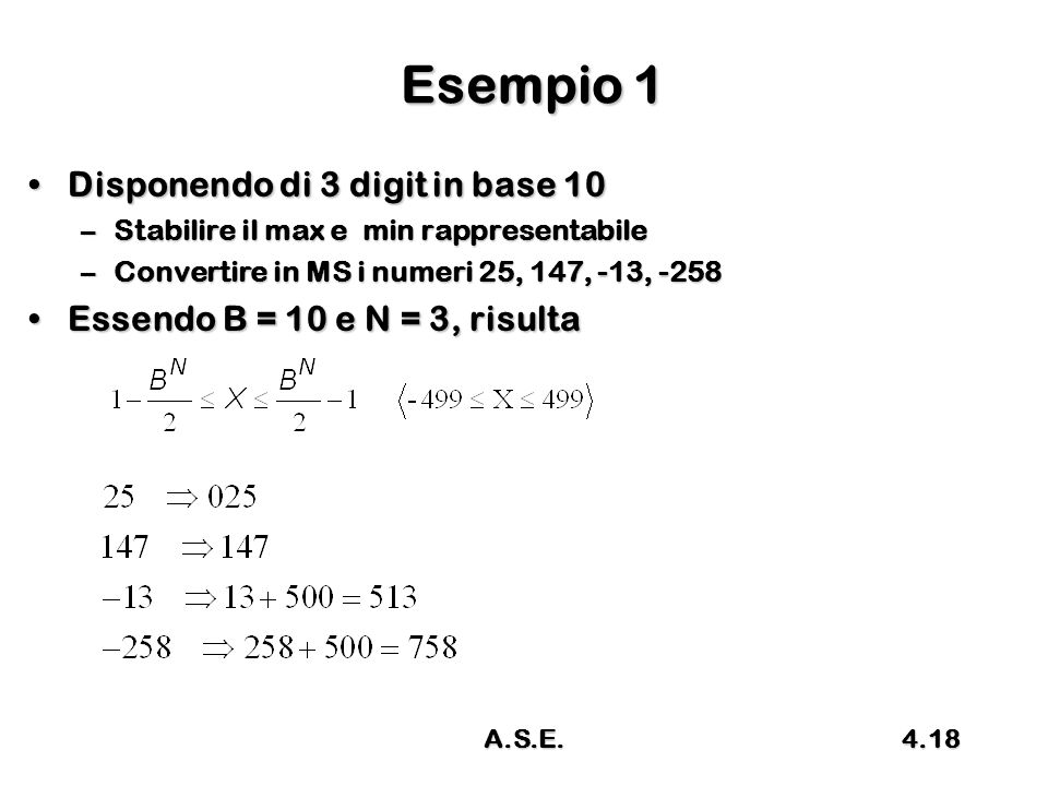 Esempio 1 Disponendo di 3 digit in base 10