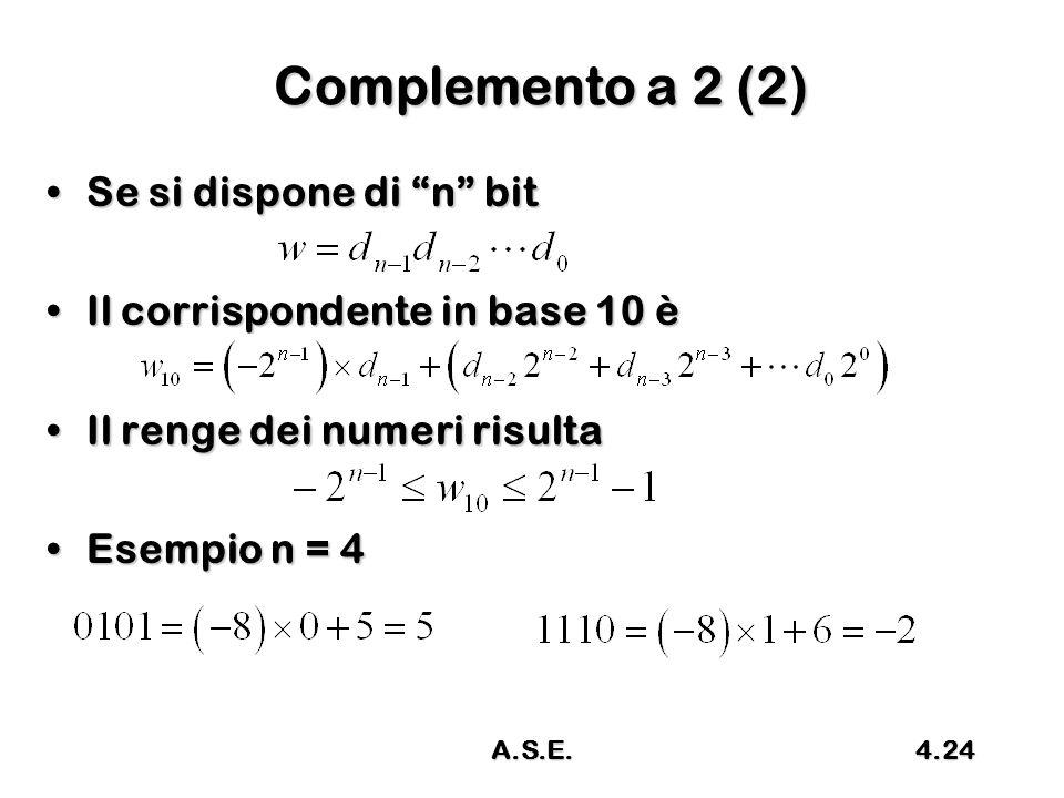 Complemento a 2 (2) Se si dispone di n bit