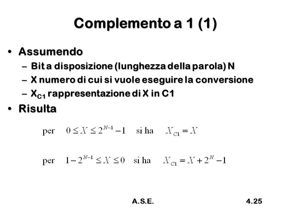Complemento a 1 (1) Assumendo Risulta