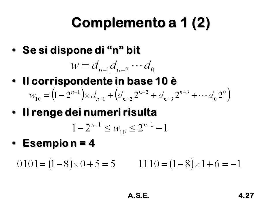 Complemento a 1 (2) Se si dispone di n bit