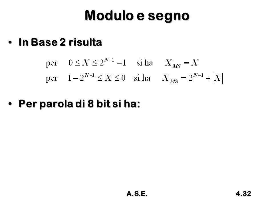 Modulo e segno In Base 2 risulta Per parola di 8 bit si ha: A.S.E.