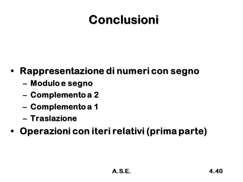 Conclusioni Rappresentazione di numeri con segno