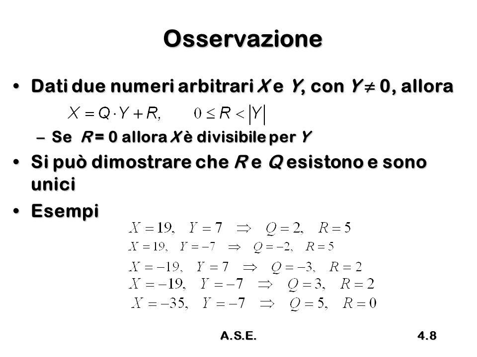 Osservazione Dati due numeri arbitrari X e Y, con Y ≠ 0, allora