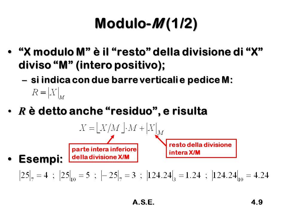 Modulo-M (1/2) X modulo M è il resto della divisione di X diviso M (intero positivo); si indica con due barre verticali e pedice M: