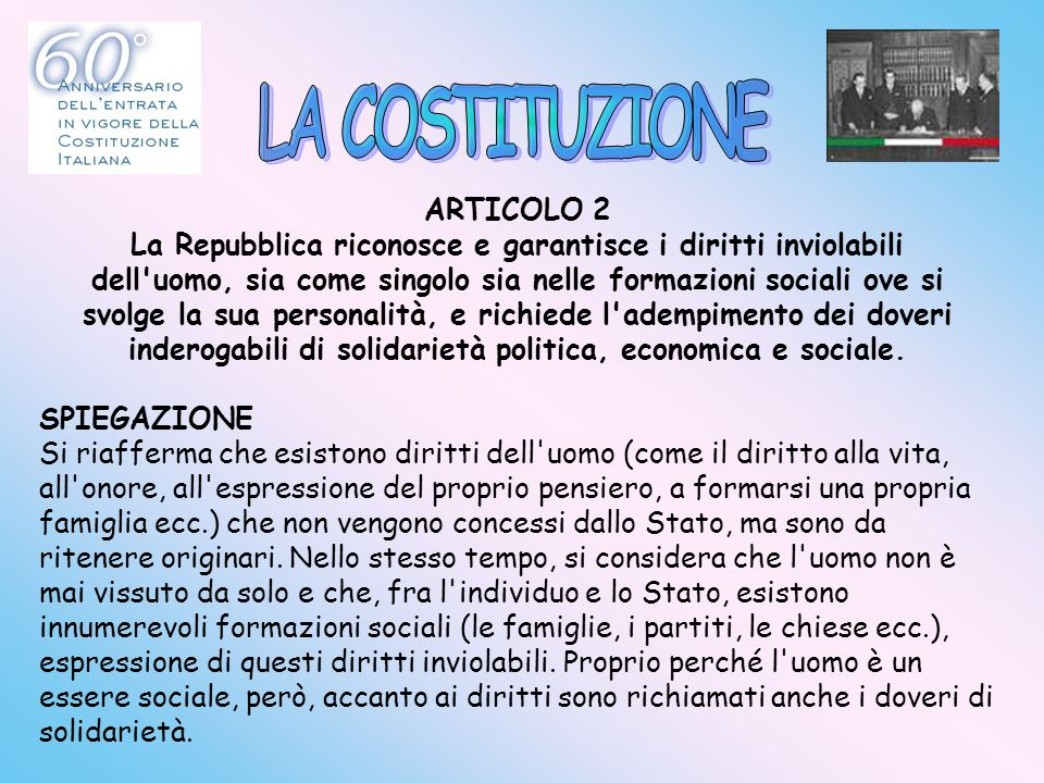 LA COSTITUZIONE ARTICOLO 2