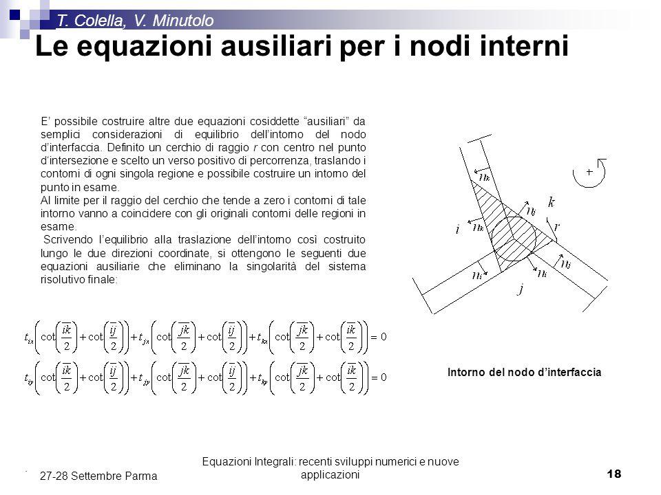 Le equazioni ausiliari per i nodi interni