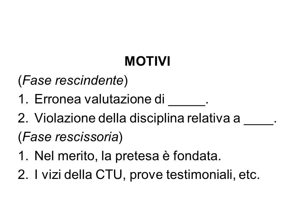 MOTIVI (Fase rescindente) Erronea valutazione di _____. Violazione della disciplina relativa a ____.