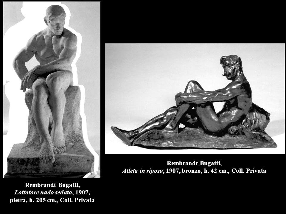 Rembrandt Bugatti, Atleta in riposo, 1907, bronzo, h. 42 cm. , Coll