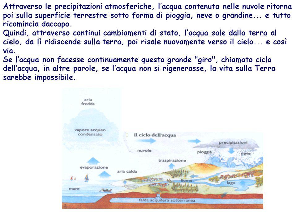 Attraverso le precipitazioni atmosferiche, l'acqua contenuta nelle nuvole ritorna poi sulla superficie terrestre sotto forma di pioggia, neve o grandine... e tutto ricomincia daccapo. Quindi, attraverso continui cambiamenti di stato, l'acqua sale dalla terra al cielo, da lì ridiscende sulla terra, poi risale nuovamente verso il cielo... e così via. Se l'acqua non facesse continuamente questo grande giro , chiamato ciclo dell'acqua, in altre parole, se l'acqua non si rigenerasse, la vita sulla Terra sarebbe impossibile.