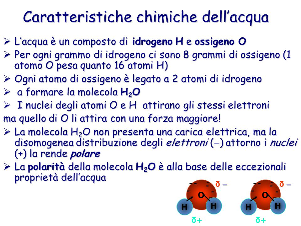 Caratteristiche chimiche dell'acqua