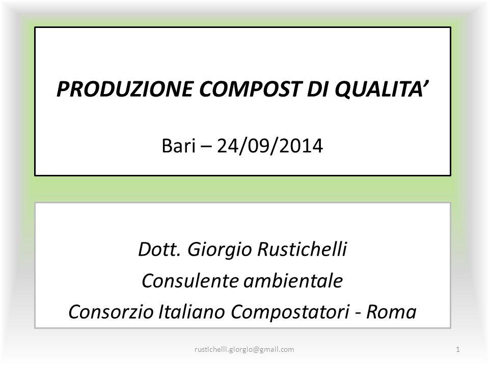 PRODUZIONE COMPOST DI QUALITA' Bari – 24/09/2014