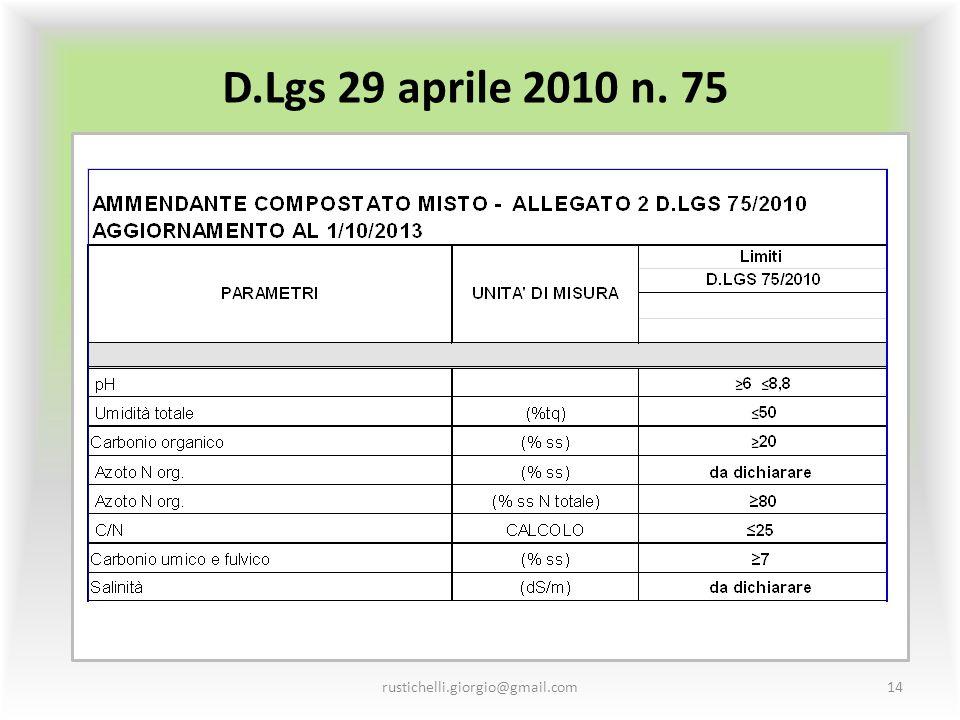 D.Lgs 29 aprile 2010 n. 75 rustichelli.giorgio@gmail.com