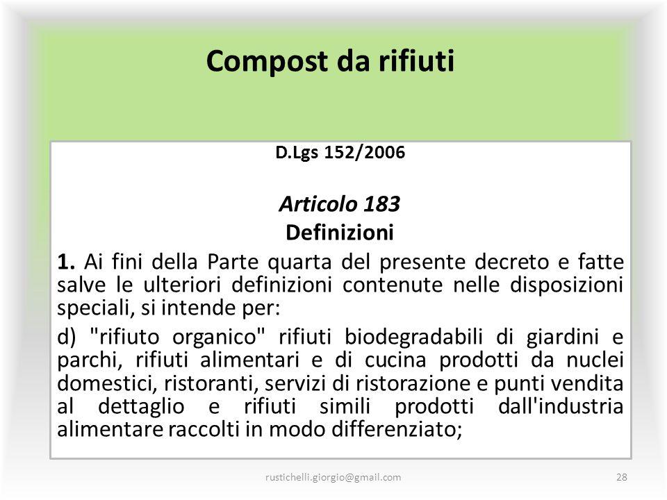 Compost da rifiuti Articolo 183 Definizioni