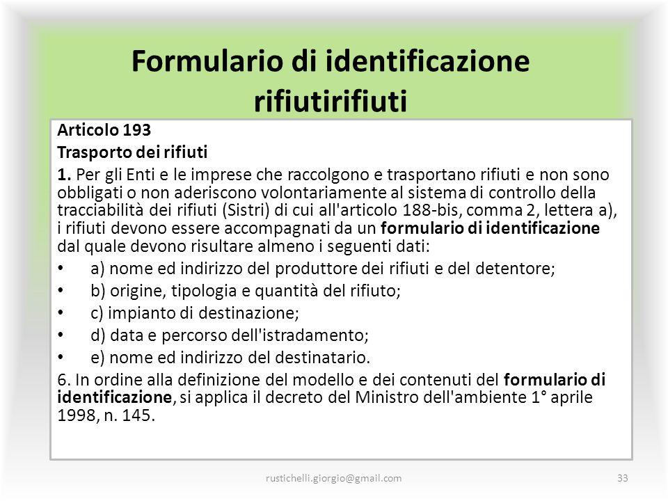 Formulario di identificazione rifiutirifiuti