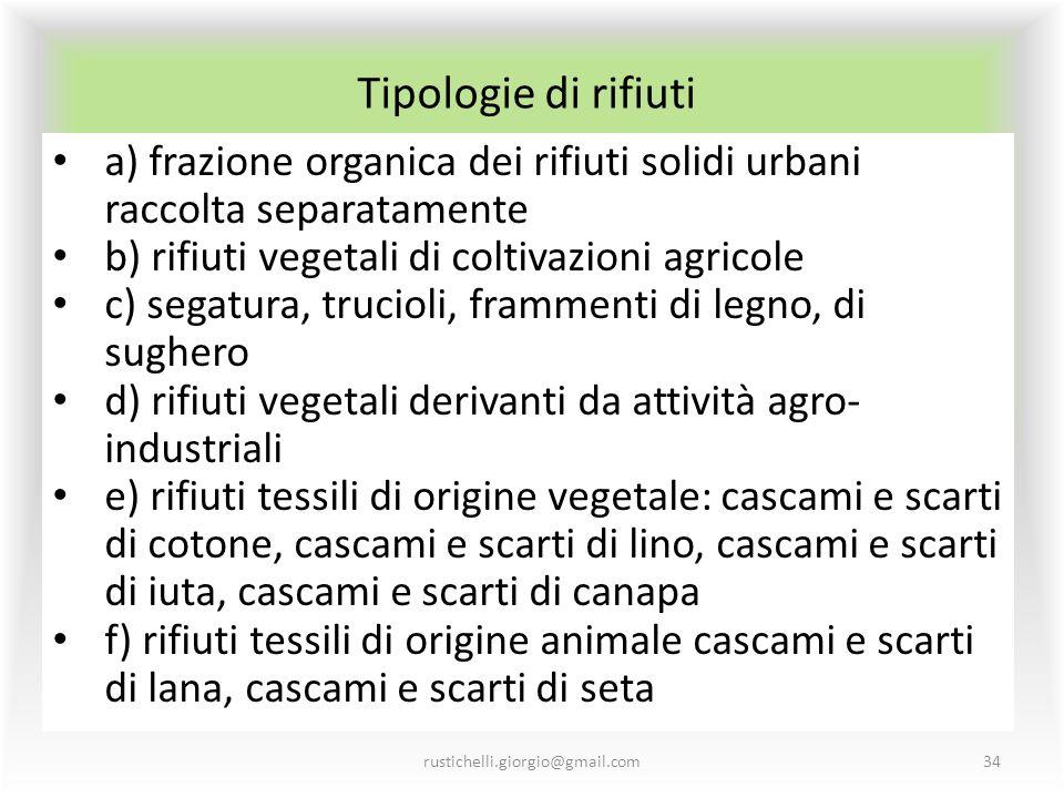 Tipologie di rifiuti a) frazione organica dei rifiuti solidi urbani raccolta separatamente. b) rifiuti vegetali di coltivazioni agricole.