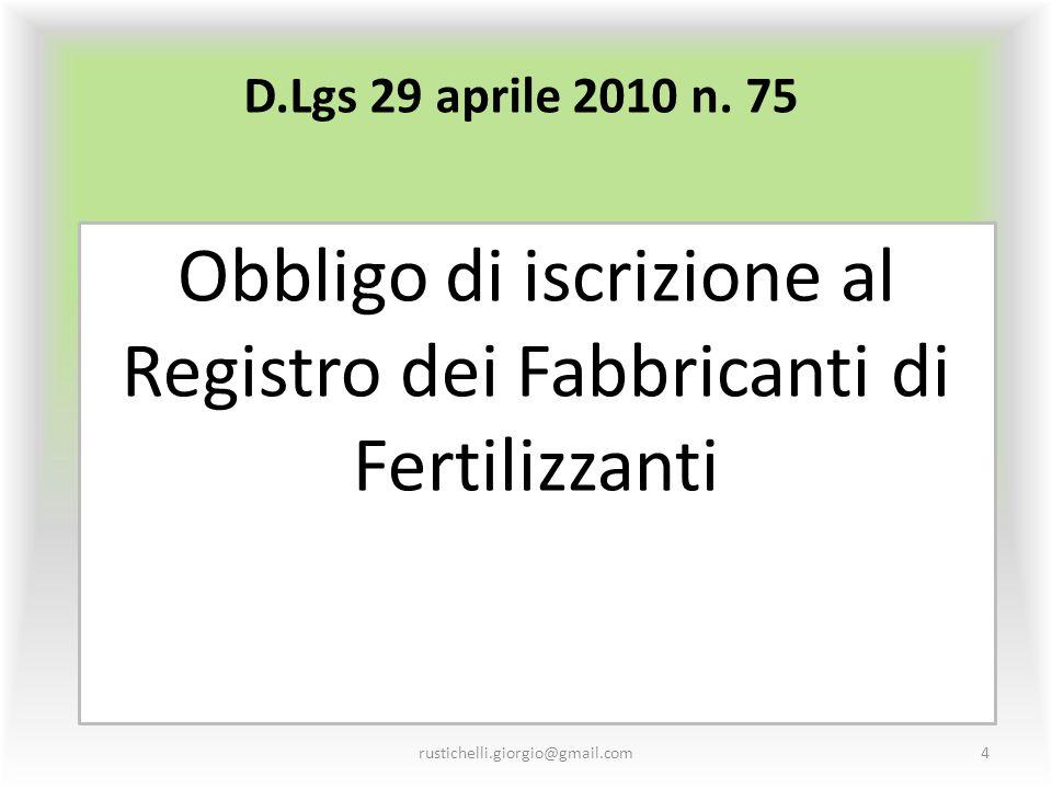 Obbligo di iscrizione al Registro dei Fabbricanti di Fertilizzanti