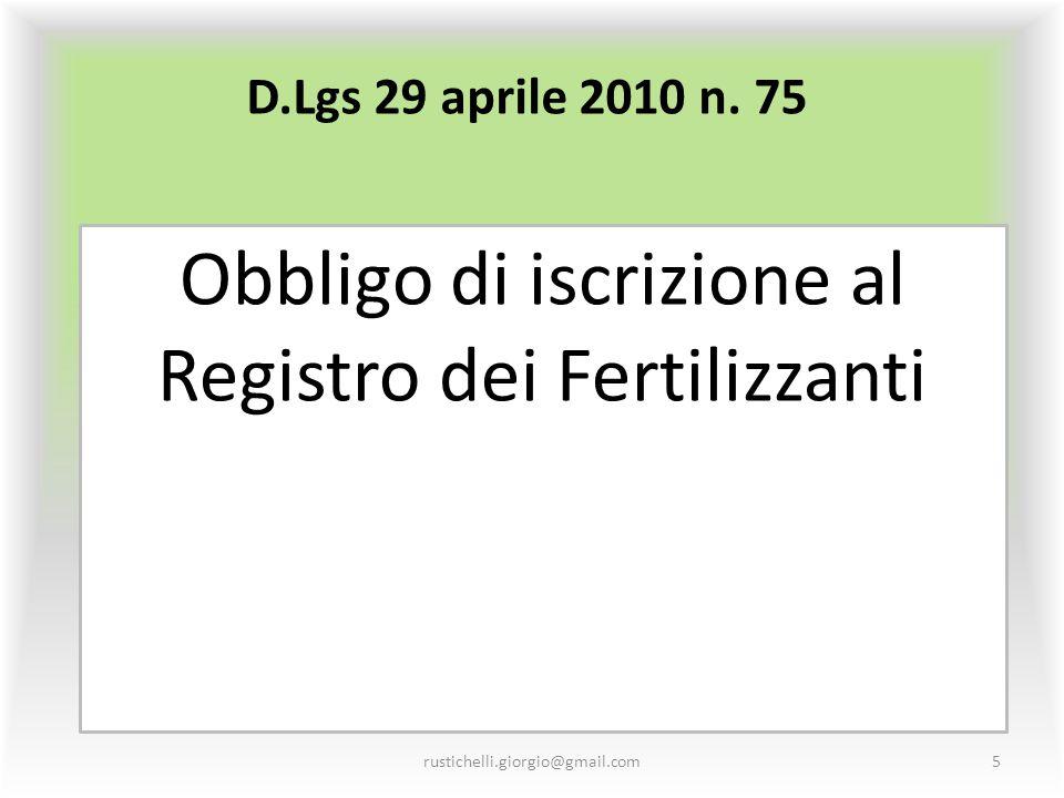 Obbligo di iscrizione al Registro dei Fertilizzanti