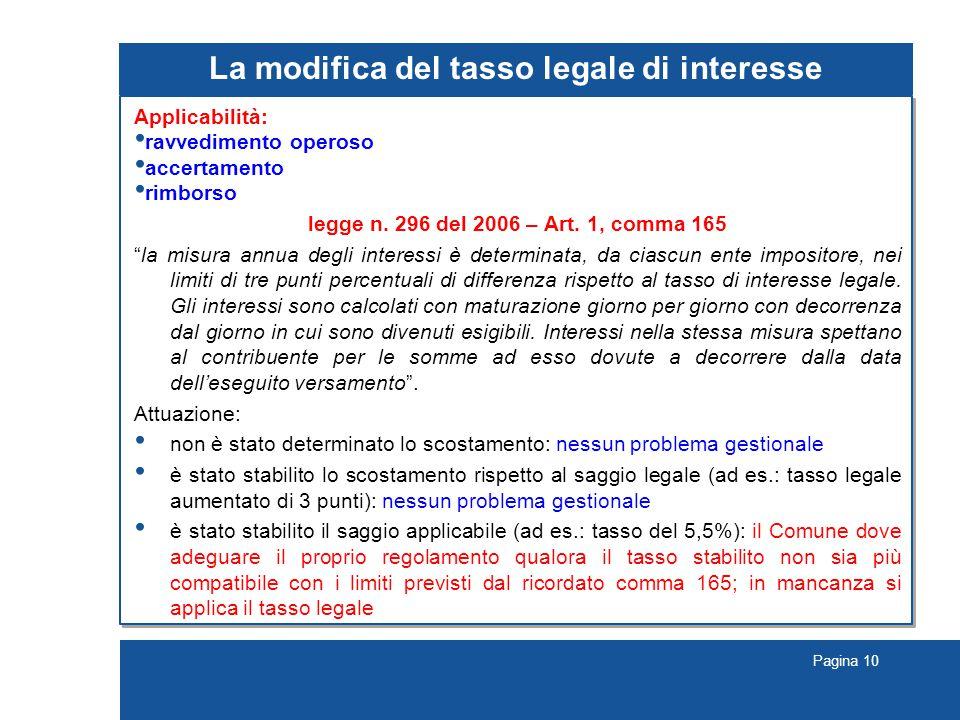 La modifica del tasso legale di interesse