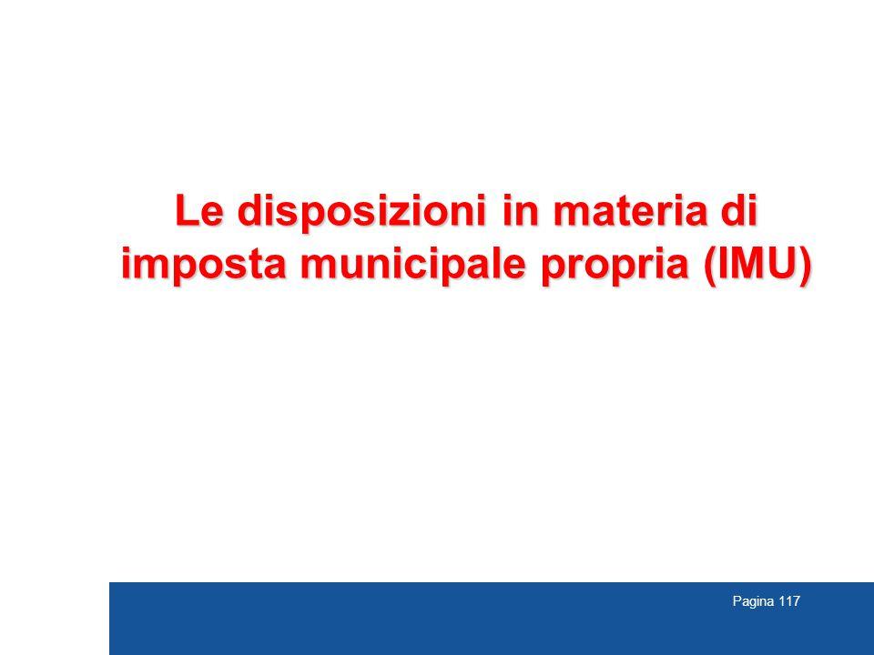Le disposizioni in materia di imposta municipale propria (IMU)