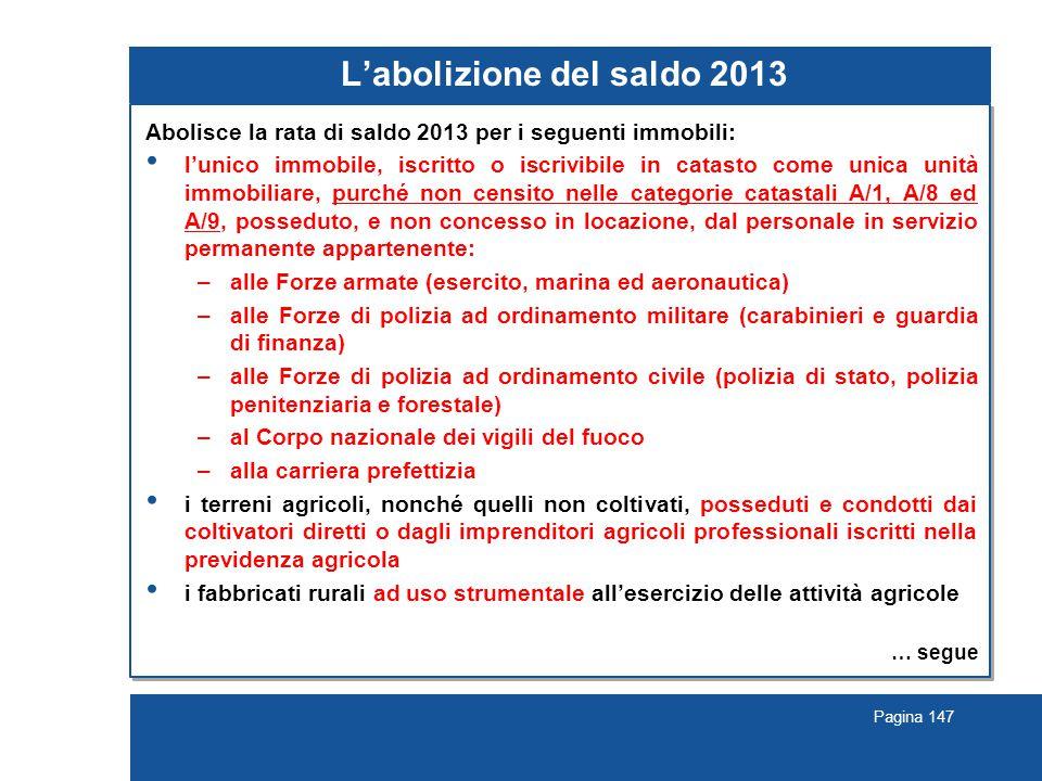L'abolizione del saldo 2013