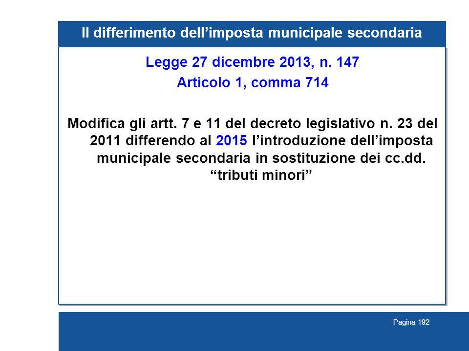 Il differimento dell'imposta municipale secondaria