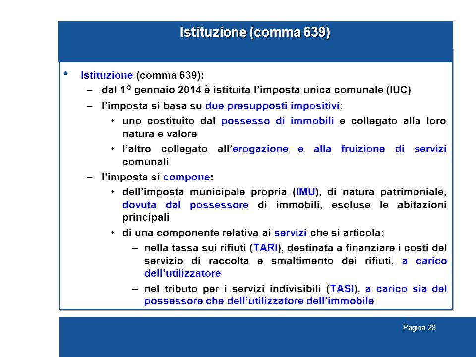 Istituzione (comma 639) Istituzione (comma 639):