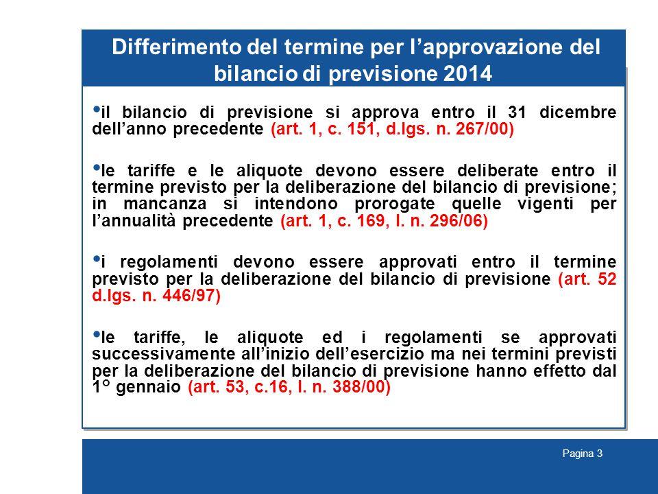 Differimento del termine per l'approvazione del bilancio di previsione 2014
